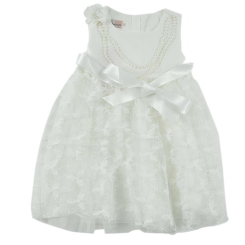 Little Hand Little Girls' Princess Lace Floral Splicing Pearl Chain Party Dress front-881479