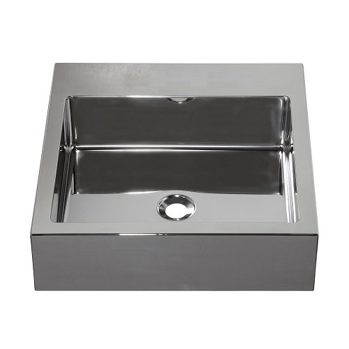 Barclay Products 7-351SP Madison Square Stainless Steel Above Counter Basin with No Faucet Hole, Polished Stainless