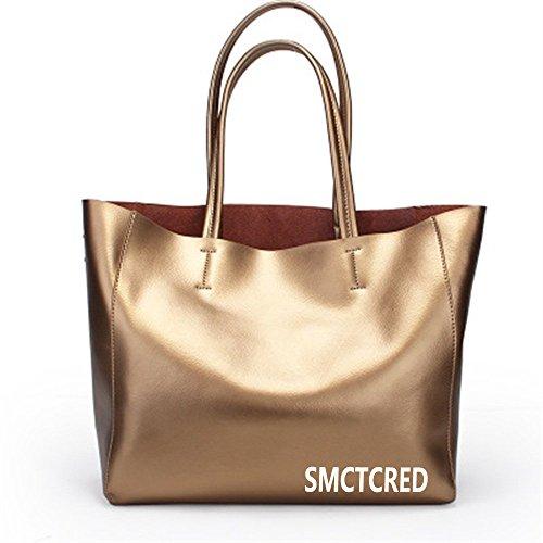 Moda-Olio PU ncient modi in pelle Borsa a tracolla in pelle morbida Borsa in pelle da donna con tracolla, a forma di borsetta a mano, per Tablet e iPad, colore: arancione, Rosso vino (D'oro)