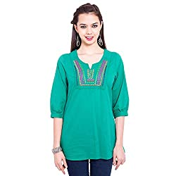 TUNTUK Women's Freesia Top Green Cotton Top