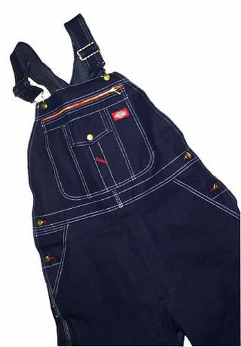 "Dickies 32""Zipper Pocket Bibs, Denim, 38 front-952601"