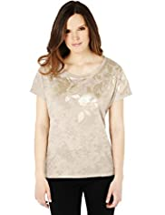Sequin Leaf Foil Print T-Shirt