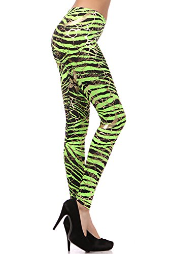Neon Metallic Animal Zebra Print Leggings - Choice of Colors and Sizes