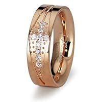 Ladies Rose Gold Stainless Steel CZ Cross Wedding Band Ring 5mm