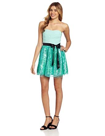 Ruby Rox Juniors Tube Sequin Party Dress, Mint, 7