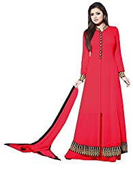 Momai Creation Women's Faux Georgette Red Unstitched Dress Material (MCV-LT-06)