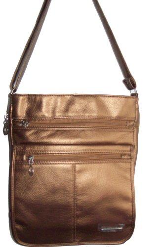 Large Bronze Ladies Multi Pocket Shoulder Bag Organiser Handbag
