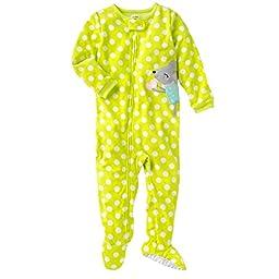 Carter\'s Girls 1-piece Micro-fleece Pajamas (4T, Yellow Dot)