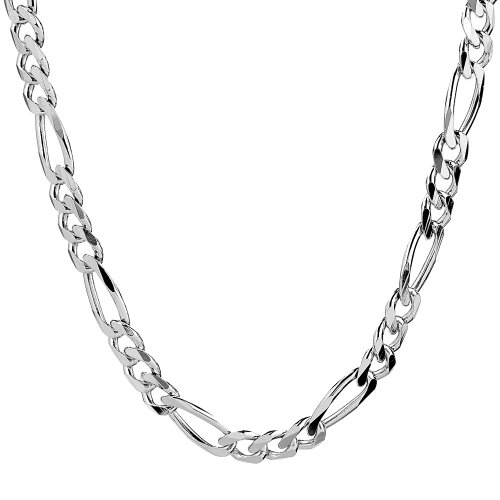 """Men's Sterling Silver Italian 6.80 mm Solid Figaro Link Chain Necklace, 18"""""""