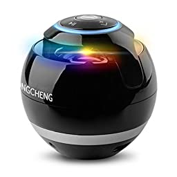 YongCheng Portable Wireless Bluetooth Speaker with Colorful LED Light and Compatible with all Bluetooth Devices,Handsfree Speakerphone and 3.5mm Jack(Black)