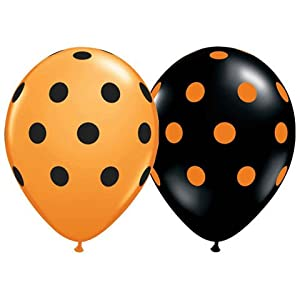 "11"" Assorted Black and Orange Polka Dot (12) Latex Balloon"