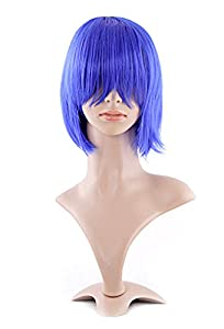 MapofBeauty Fashion Girl Natural Short Straight Wigs Diagonal Bangs Wigs-Navy Blue-Ladies