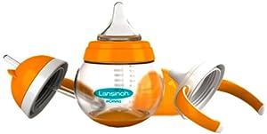 Lansinoh 75810 - Vaso para bebé con 3 boquillas (con tetina, para diferentes edades, 250 ml) - BebeHogar.com