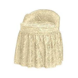 Delmar Swivel Vanity Stool W Skirt Lwbk Ivry Dmsk