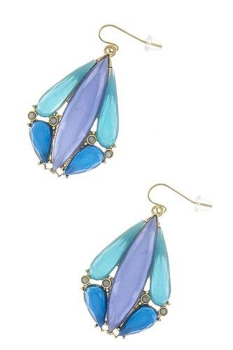 Karmas Canvas Acrylic Droplet Earrings (Blue) front-199659