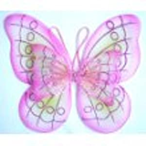 Double Layered Pink & Green Fairy Princess Butterfly Costume Dress-up Wings w/ Jeweled Center