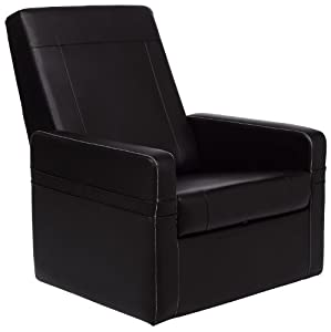 Com cr 43668 faux leather gamer ottoman black kitchen amp dining