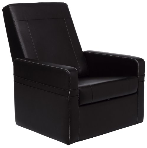 Cr-43668 Faux Leather Gamer Ottoman, Black front-682629
