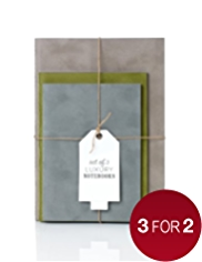 Set of 3 Luxury Suede Effect Notebooks