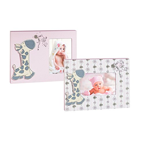 Pink and White Giraffe Wood 4X6 Picture Frame Set of 2