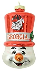 Georgia Bulldogs NCAA Top Hat Snowman Glass Ornament