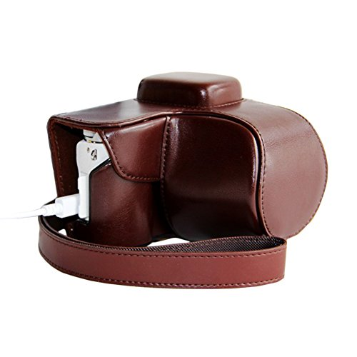 Win8Fong Pu Leather Camera Case Bag Cover For Samsung Nx3000 Charging Style / Coffee