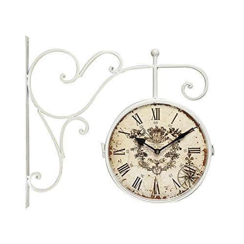 Adeco White Iron Round Double-Sided Wall Hanging Clock with Scroll Wall Mount Home Decor