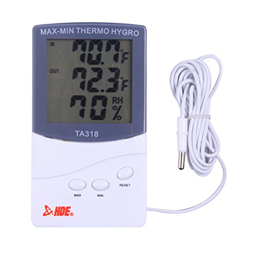 HDE Indoor/Outdoor Thermometer and Hygrometer LCD Weather Station - Indoor Humidity Monitor - 1