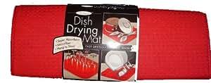MICROFIBRE DISH DRYING MAT drainer kitchen / caravan camper camping -RED