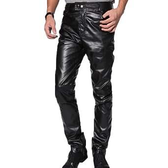 Zeagoo Men's Faux Leather Trousers Pants,Large,Black
