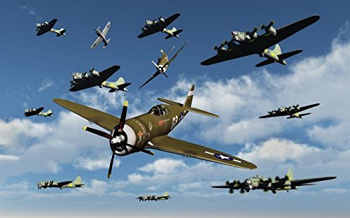 P-47 Thunderbolts escorting B-17 Flying Fortress bombers. 16 x 20 Poster
