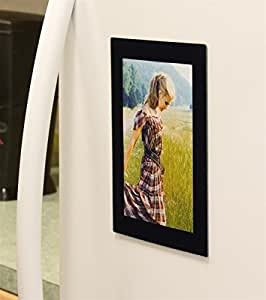 Set of 10, Magnetic Refrigerator Photo Frames for 5x7 Prints - Black Acrylic