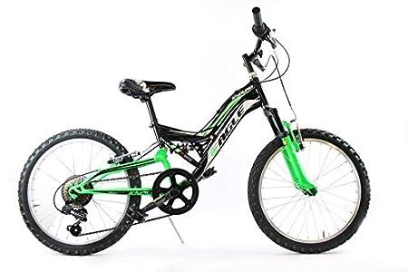 Eagle Vélo MTB de 50 cm, enduro, double-suspension, 6 vitesses noir vert (enfant)