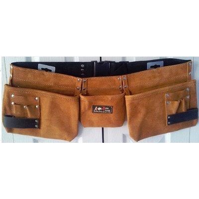 9 Pocket Suede Leather Tool Pouch Belt , Adjustable