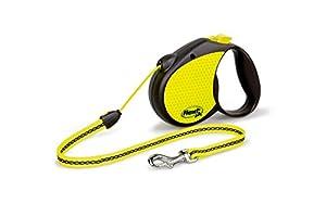 Flexi 16-Feet Neon Reflect Retractable Cord Dog Leash, Medium, Black/Neon Yellow