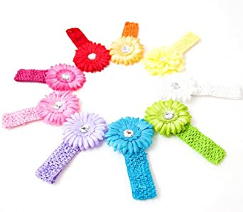 Ema Jane - Spring Bling Gerber Daisy Flower Hair Clips with Soft Crochet Headbands (18 Pack, 9 Flowers + 9 Headbands)