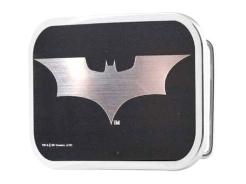 Batman Begins Brushed Silver and Black Belt Buckle