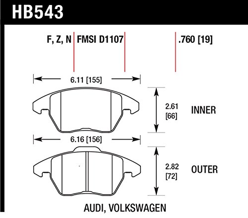 Hawk Performance HB543F.760 HPS Performance Ceramic Brake Pad (07 Vw Passat Performance Parts compare prices)
