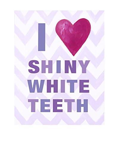 CiCi Art Factory Kid's I Heart Shiny White Teeth Lilac Paper Print, Multi