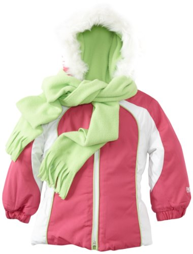 Pacific Trail Kids Baby Girls' Color Blocked Jacket With Scarf, Pink, 24 Months