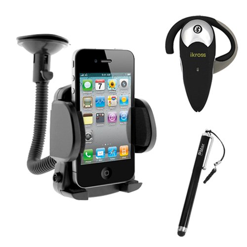 iKross Wireless Bluetooth Handsfree Headset Small Car Mount Holder Black Pen style Stylus for LG Intuition - Samsung Galaxy S III i9300 Global Version - Galaxy S II Skyrocket HD i757 - Galaxy S Aviator R930 - Brightside U380 - Galaxy S Blaze 4G