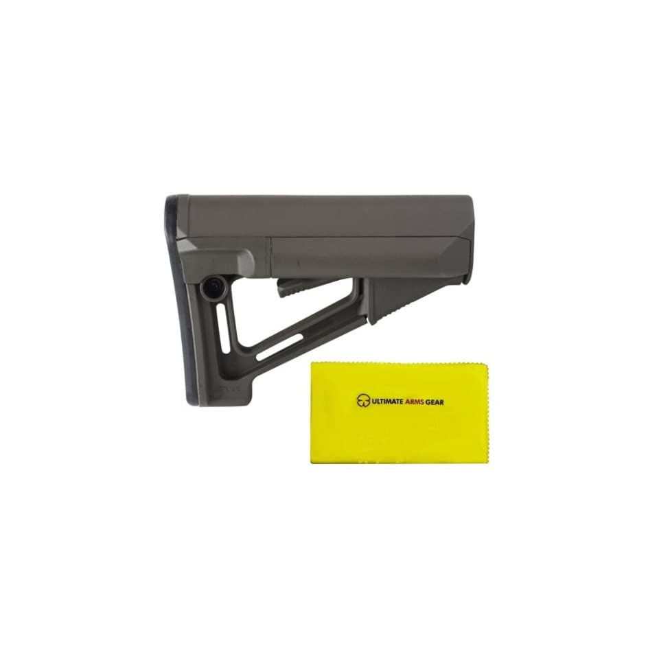 Magpul Industries MAG 471 STR Commercail Com   Spec OD Olive Drab Green Buttstock Stock with Rubber Butt Pad, Cheek Weld Rest and Two Water Resistant Battery Tubes + Ultimate Arms Gear Rifle/Shotgun/Pistol/Gun Care and Reel Silicone Lubricated Cleaning Clo