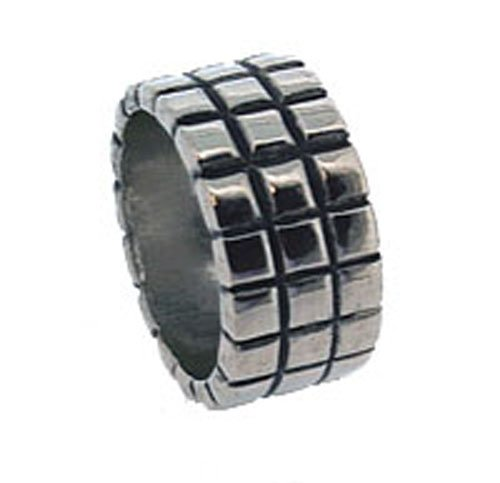 Polished Metal Wide Block Ring, Silver Colour