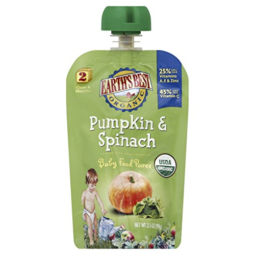 Earth's Best Organic Stage 2, Pumpkin & Spinach, 3.5 Ounce Pouch (Pack of 12)