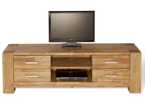 SAM-TV-Board-Zeus-1616-01-150-cm-TV-Schrank-aus-teilmassiver-Wildeiche-in-natur-mit-vier-Schubksten-und-zwei-Ablagefchern-fr-Receiver-DVD-Recorder-Blu-Ray-Player