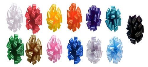 Bows, Gift Bows, Christmas Bows, Wrapping Bows NO STRINGS, Set of 12 Pom Pom, Pull Bows, 5