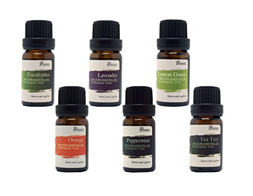 Pursonic 100% Pure Essential Aromatherapy Oils Gift Set-6 Pack , 10ML(Eucalyptus, Lavender, Lemon grass, Orange, Peppermint, Tea Tree)