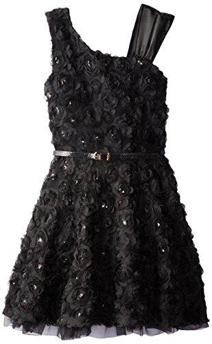 Beautees Big Girls' Asymmetrical Shoulder Dress, Black/White, 10