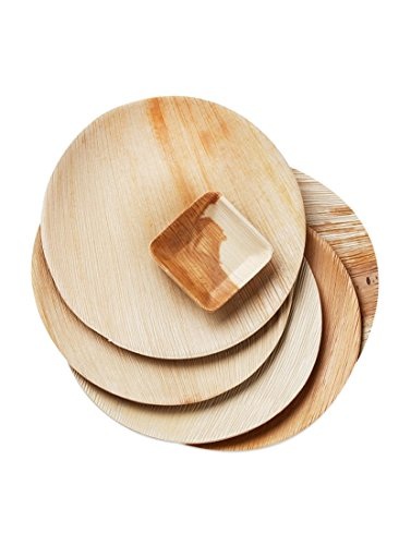 """Simply Urbane Wooden Palm Party 10"""" Round Plates :Very Stylish, Good looking, Wooden texture, Disposable & Ecofriendly