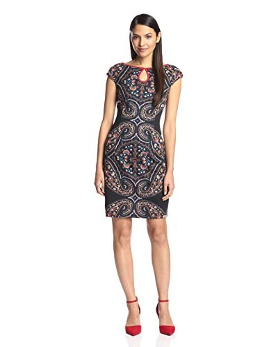 London Times Women's Cap Sleeve Keyhole Dress